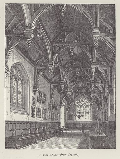 The Hall. Illustration for Oxford Men and their Colleges by Joseph Foster (James Parker, 1893).