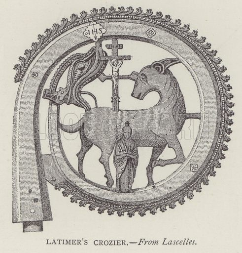 Latimer's Crozier. Illustration for Oxford Men and their Colleges by Joseph Foster (James Parker, 1893).