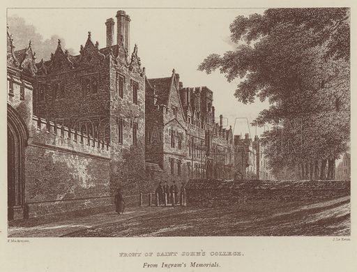 Front of Saint John's College. Illustration for Oxford Men and their Colleges by Joseph Foster (James Parker, 1893).