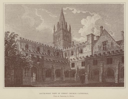 South-West view of Christ Church Cathedral. Illustration for Oxford Men and their Colleges by Joseph Foster (James Parker, 1893).