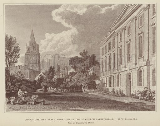 Corpus Christi Library, with view of Christ Church Cathedral. Illustration for Oxford Men and their Colleges by Joseph Foster (James Parker, 1893).