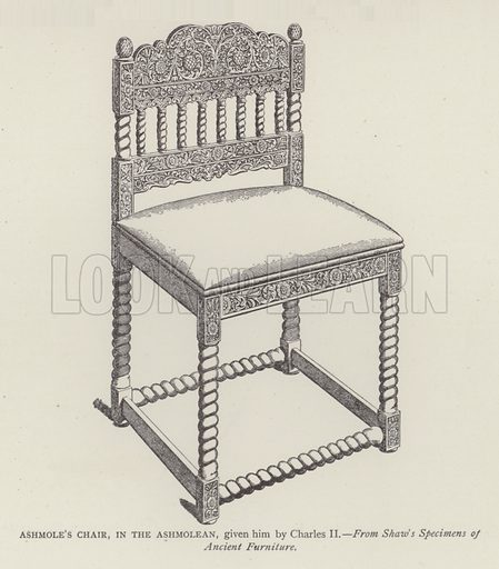 Ashmole's Chair, in the Ashmolean, given him by Charles II. Illustration for Oxford Men and their Colleges by Joseph Foster (James Parker, 1893).