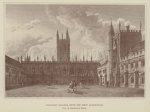 Magdalen College, from the First Quadrangle. Illustration for Oxford Men and their Colleges by Joseph Foster (James Parker, 1893).