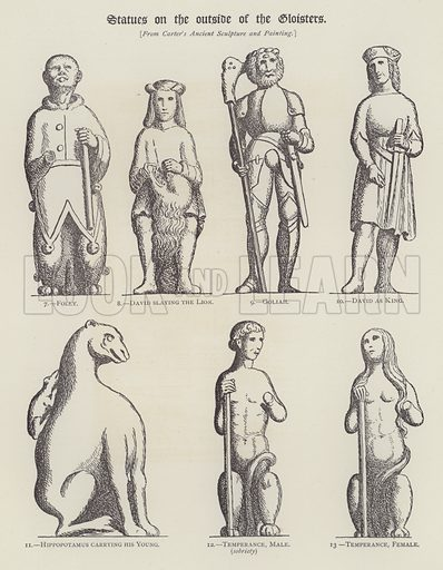 Statues on the Outside of the Cloisters. Illustration for Oxford Men and their Colleges by Joseph Foster (James Parker, 1893).