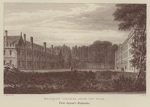 Magdalen College, from the Walk. Illustration for Oxford Men and their Colleges by Joseph Foster (James Parker, 1893).