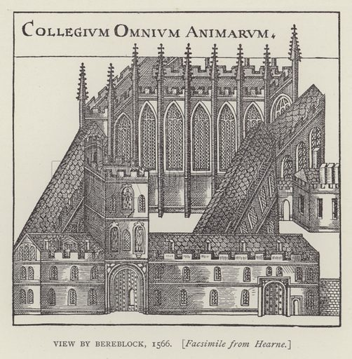 View by Bereblock, 1566. Illustration for Oxford Men and their Colleges by Joseph Foster (James Parker, 1893).