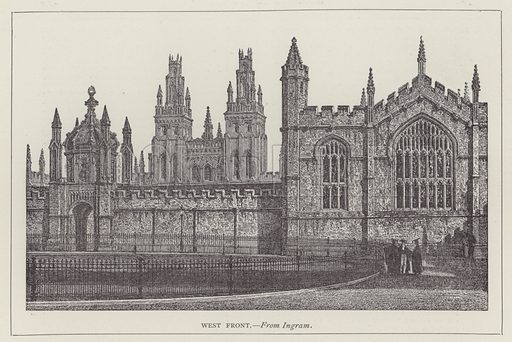 West Front. Illustration for Oxford Men and their Colleges by Joseph Foster (James Parker, 1893).