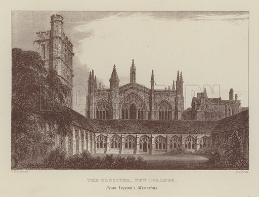 The Cloister, New College. Illustration for Oxford Men and their Colleges by Joseph Foster (James Parker, 1893).