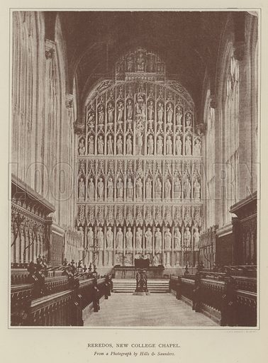 Reredos, New College Chapel. Illustration for Oxford Men and their Colleges by Joseph Foster (James Parker, 1893).