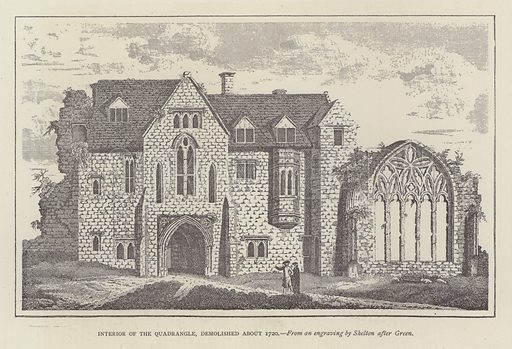 Interior of the Quadrangle, demolished about 1720. Illustration for Oxford Men and their Colleges by Joseph Foster (James Parker, 1893).