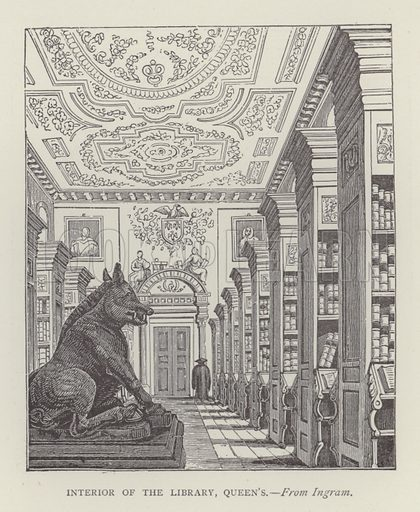 Interior of the Library, Queen's. Illustration for Oxford Men and their Colleges by Joseph Foster (James Parker, 1893).