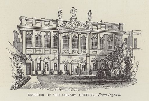 Exterior of the Library, Queen's. Illustration for Oxford Men and their Colleges by Joseph Foster (James Parker, 1893).