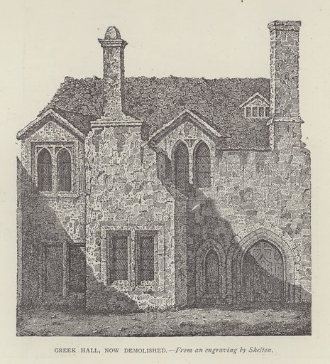 Greek Hall, now demolished. Illustration for Oxford Men and their Colleges by Joseph Foster (James Parker, 1893).
