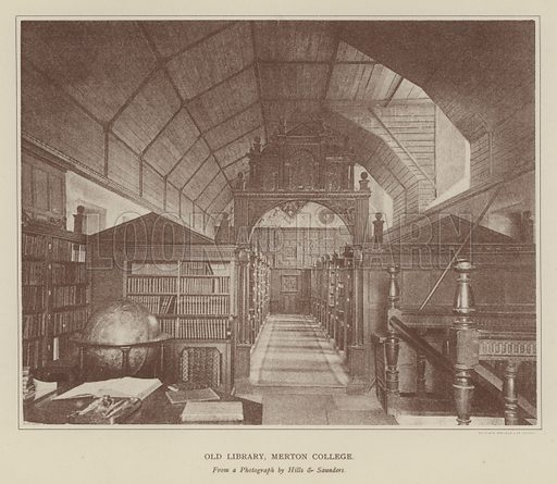 Old Library, Merton College. Illustration for Oxford Men and their Colleges by Joseph Foster (James Parker, 1893).
