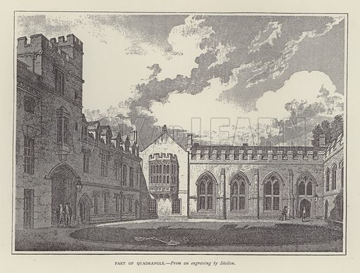 Part of Quadrangle. Illustration for Oxford Men and their Colleges by Joseph Foster (James Parker, 1893).