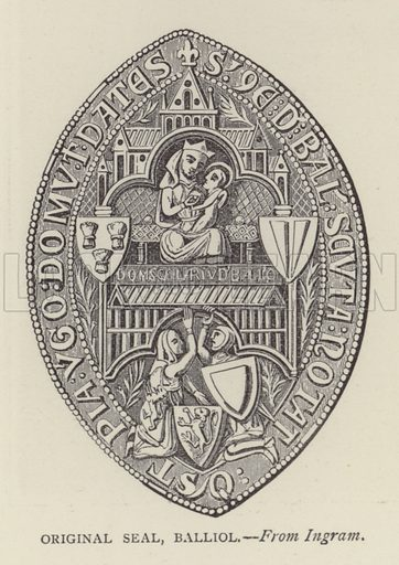 Original Seal, Balliol. Illustration for Oxford Men and their Colleges by Joseph Foster (James Parker, 1893).