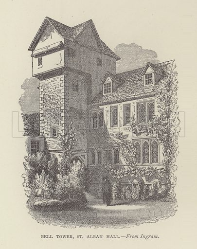 Bell Tower, St Alban Hall. Illustration for Oxford Men and their Colleges by Joseph Foster (James Parker, 1893).