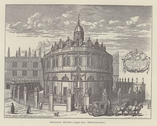 Sheldonian Theatre, Loggan, 1675. Illustration for Oxford Men and their Colleges by Joseph Foster (James Parker, 1893).