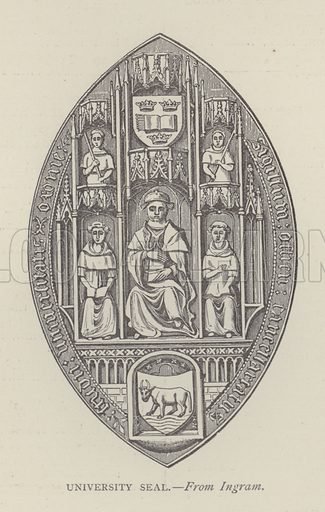 University Seal. Illustration for Oxford Men and their Colleges by Joseph Foster (James Parker, 1893).
