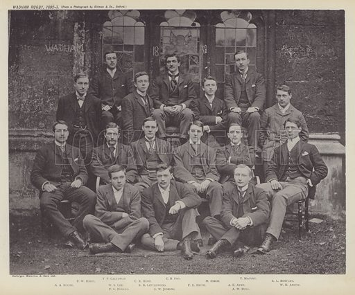 Wadham Rugby, 1892–3. Illustration for Oxford Men and their Colleges by Joseph Foster (James Parker, 1893).