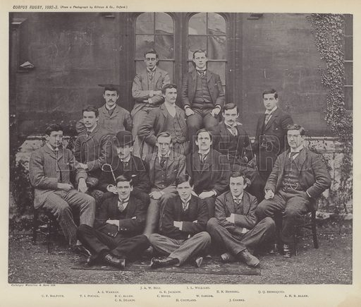Corpus Rugby, 1892–3. Illustration for Oxford Men and their Colleges by Joseph Foster (James Parker, 1893).