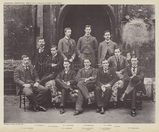Brasenose Association, 1892–3. Illustration for Oxford Men and their Colleges by Joseph Foster (James Parker, 1893).