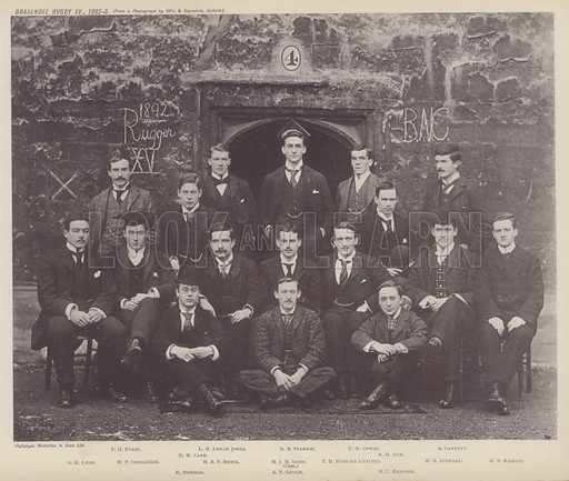 Brasenose Rugby XV, 1892–3. Illustration for Oxford Men and their Colleges by Joseph Foster (James Parker, 1893).