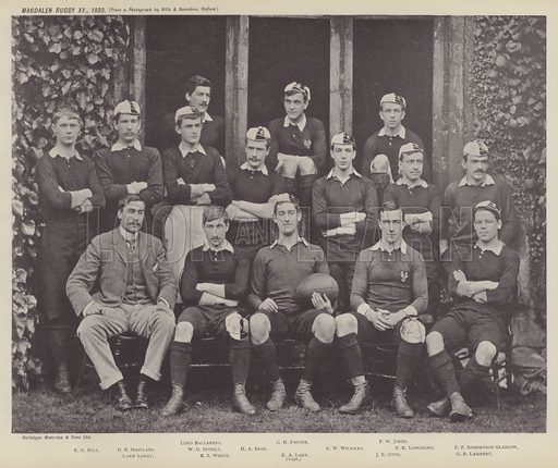 Magdalen Rugby XV, 1893. Illustration for Oxford Men and their Colleges by Joseph Foster (James Parker, 1893).