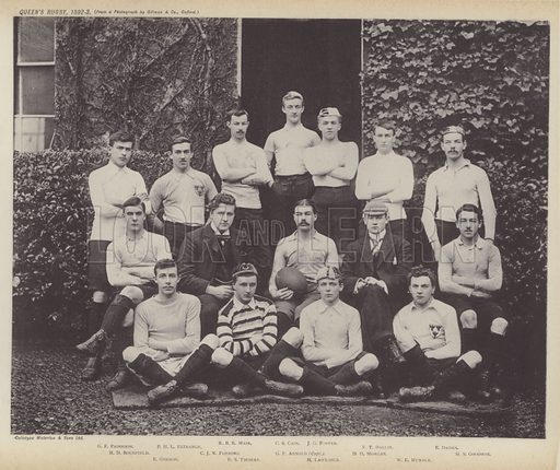 Queen's Rugby, 1892–3. Illustration for Oxford Men and their Colleges by Joseph Foster (James Parker, 1893).