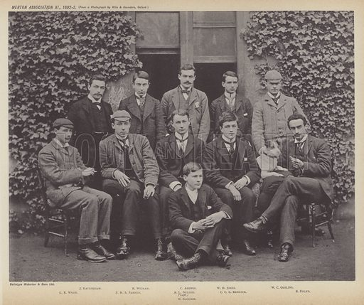 Merton Association XI, 1892–3. Illustration for Oxford Men and their Colleges by Joseph Foster (James Parker, 1893).