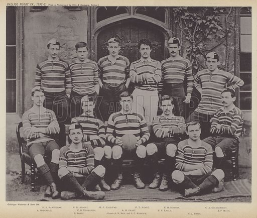 Balliol Rugby XV, 1892–3. Illustration for Oxford Men and their Colleges by Joseph Foster (James Parker, 1893).