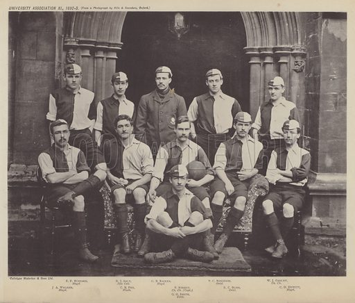 University Association XI, 1892–3. Illustration for Oxford Men and their Colleges by Joseph Foster (James Parker, 1893).