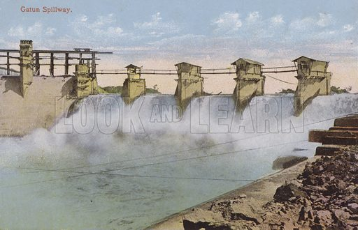 Panama Canal, Gatun Spillway. Illustration for booklet on the construction of the Panama Canal, which was first used in 1914.