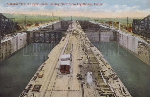 Panama Canal, General View of Upper Locks, looking North from Lighthouse, Gatun. Illustration for booklet on the construction of the Panama Canal, which was first used in 1914.