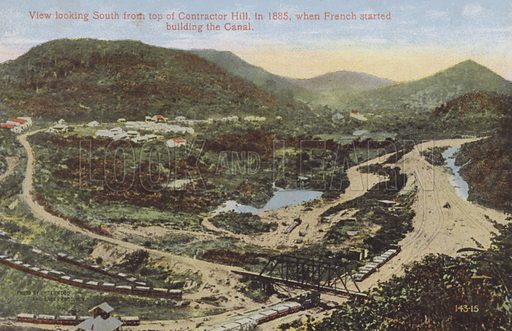 Panama Canal, View looking South from top of Contractor Hill, in 1885, when French started building the Canal. Illustration for booklet on the construction of the Panama Canal, which was first used in 1914.