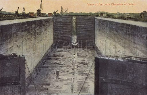 Panama Canal, View of the Lock Chamber of Gatun. Illustration for booklet on the construction of the Panama Canal, which was first used in 1914.