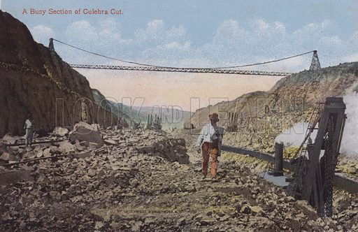 Panama Canal, A Busy Section of Culebra Cut. Illustration for booklet on the construction of the Panama Canal, which was first used in 1914.
