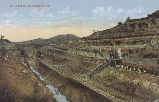 Panama Canal, At Work in the Culebra Cut. Illustration for booklet on the construction of the Panama Canal, which was first used in 1914.