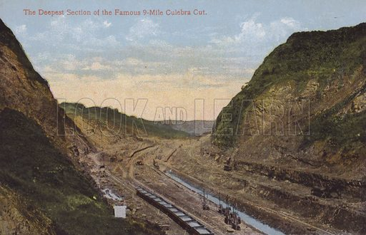 Panama Canal, The Deepest Section of the Famous 9-Mile Culebra Cut. Illustration for booklet on the construction of the Panama Canal, which was first used in 1914.