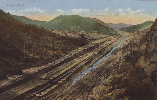 Panama Canal, Culebra Cut. Illustration for booklet on the construction of the Panama Canal, which was first used in 1914.