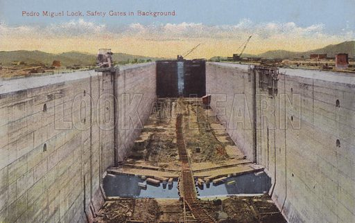 Panama Canal, Pedro Miguel Lock, Safety Gates in Background. Illustration for booklet on the construction of the Panama Canal, which was first used in 1914.