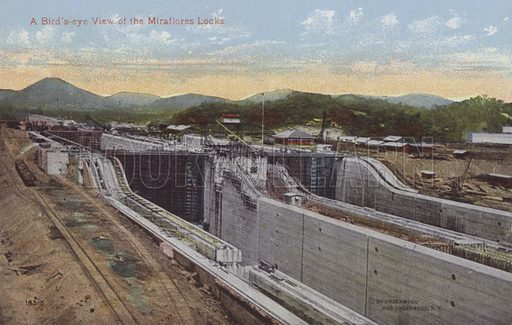 Panama Canal, A Bird's-eye View of the Miraflores Locks. Illustration for booklet on the construction of the Panama Canal, which was first used in 1914.