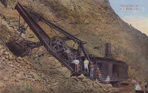 Panama Canal, Steam Shovel in a Rock Cut. Illustration for booklet on the construction of the Panama Canal, which was first used in 1914.