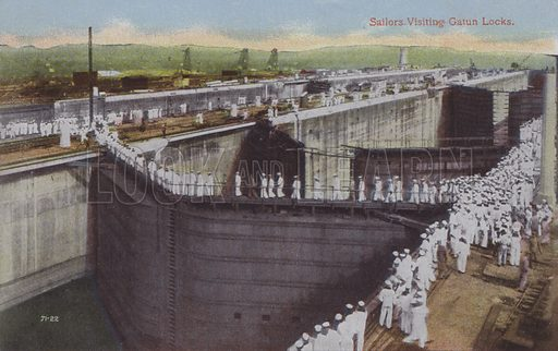 Panama Canal, Sailors Visiting Gatun Locks. Illustration for booklet on the construction of the Panama Canal, which was first used in 1914.