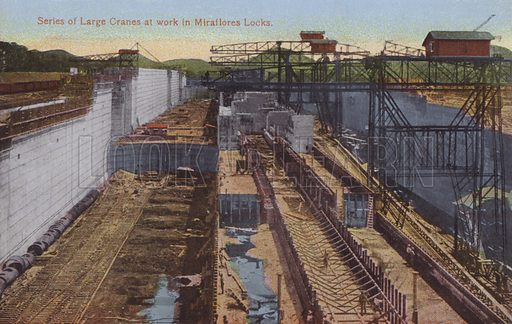 Panama Canal, Series of Large Cranes at work in Miraflores Locks. Illustration for booklet on the construction of the Panama Canal, which was first used in 1914.