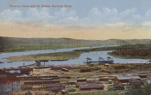 Panama Canal, Panama Canal and the Balboa Machine Shops. Illustration for booklet on the construction of the Panama Canal, which was first used in 1914.