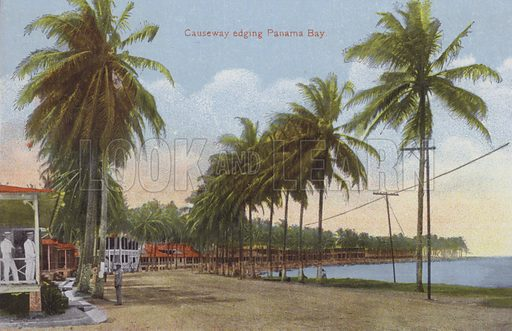 Panama Canal, Causeway edging Panama Bay. Illustration for booklet on the construction of the Panama Canal, which was first used in 1914.