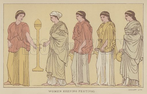 Women keeping Festival. Illustration for The Story of the Persian War from Herodotus by Alfred J Church with illustrations from the antique (Seeley, Jackson and Halliday, 1882).