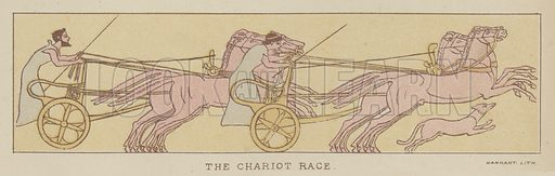 The Chariot Race. Illustration for The Story of the Persian War from Herodotus by Alfred J Church with illustrations from the antique (Seeley, Jackson and Halliday, 1882).