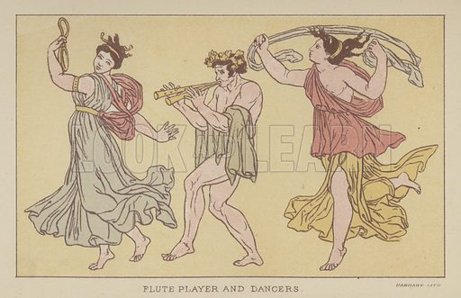 Flute Player and Dancers. Illustration for The Story of the Persian War from Herodotus by Alfred J Church with illustrations from the antique (Seeley, Jackson and Halliday, 1882).